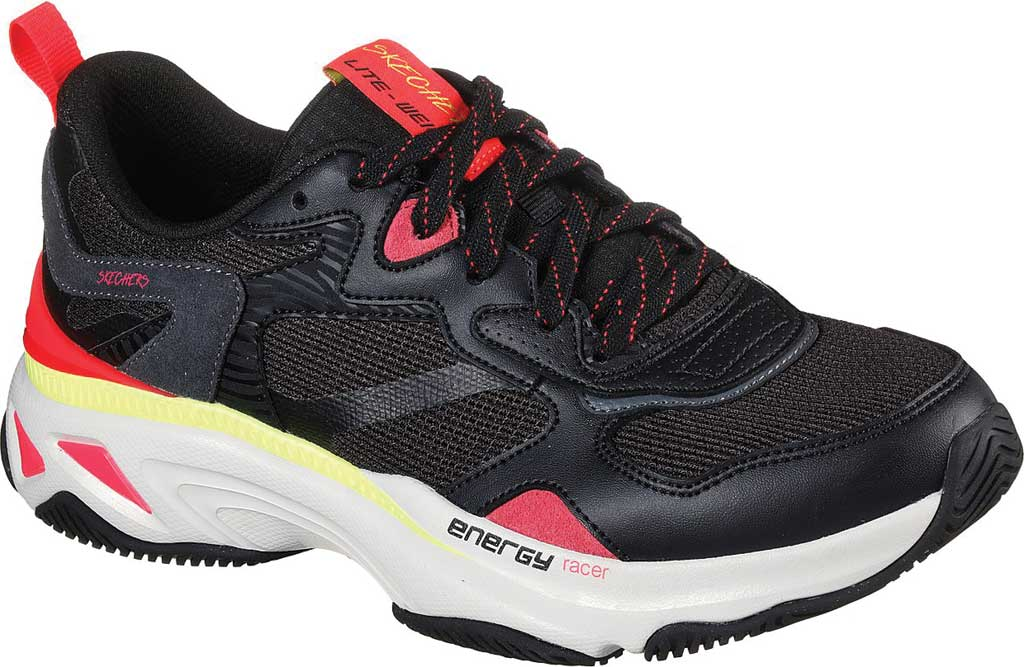 Women's Skechers Energy Racer Embrace Her Trainer, Black/Coral, large, image 1