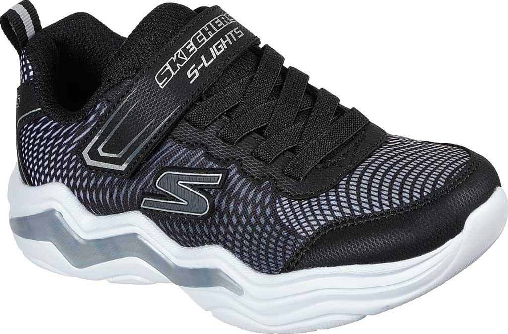 Boys' Skechers S Lights Erupters IV Light Up Sneaker, Black/Silver, large, image 1