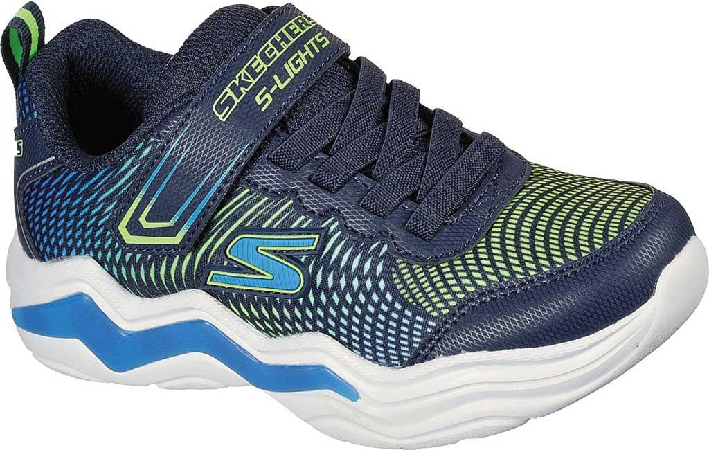 Boys' Skechers S Lights Erupters IV Light Up Sneaker, Navy/Lime, large, image 1
