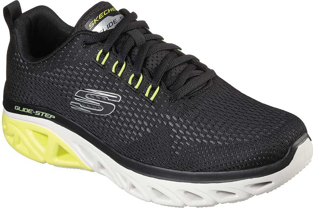 Men's Skechers Glide Step Sport Wave Heat Sneaker, Black, large, image 1