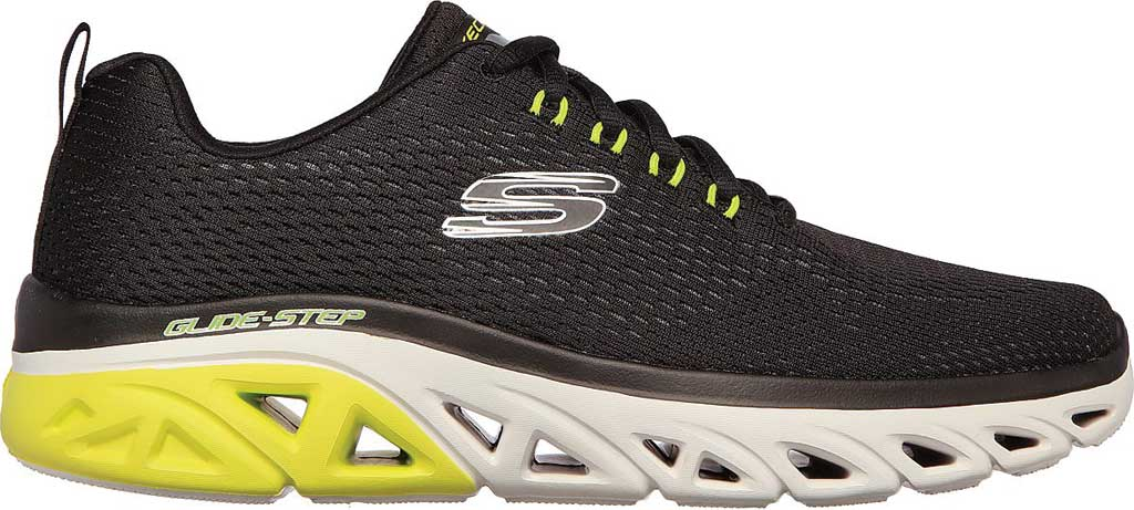 Men's Skechers Glide Step Sport Wave Heat Sneaker, Black, large, image 2