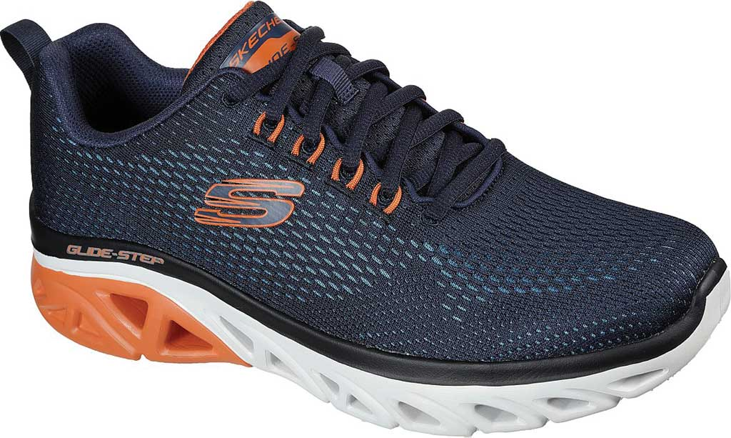 Men's Skechers Glide Step Sport Wave Heat Sneaker, Navy/Orange, large, image 1