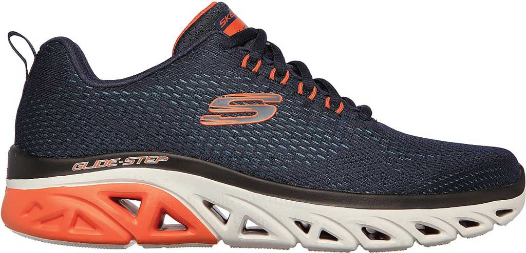 Men's Skechers Glide Step Sport Wave Heat Sneaker, Navy/Orange, large, image 2