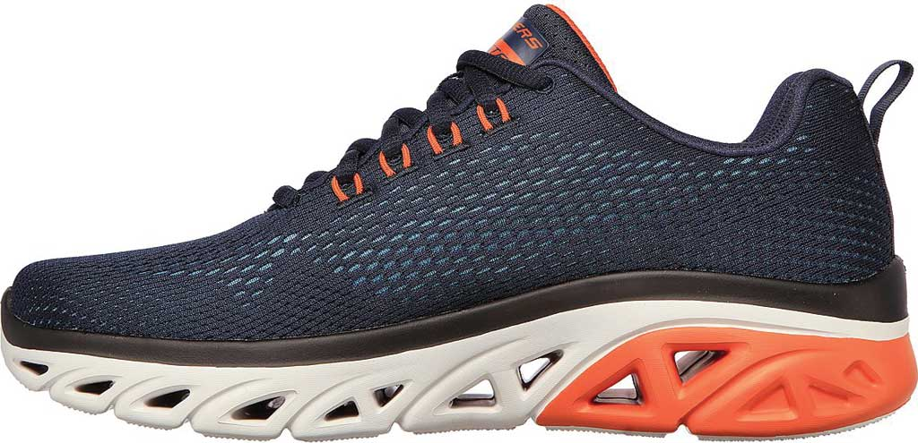 Men's Skechers Glide Step Sport Wave Heat Sneaker, Navy/Orange, large, image 3
