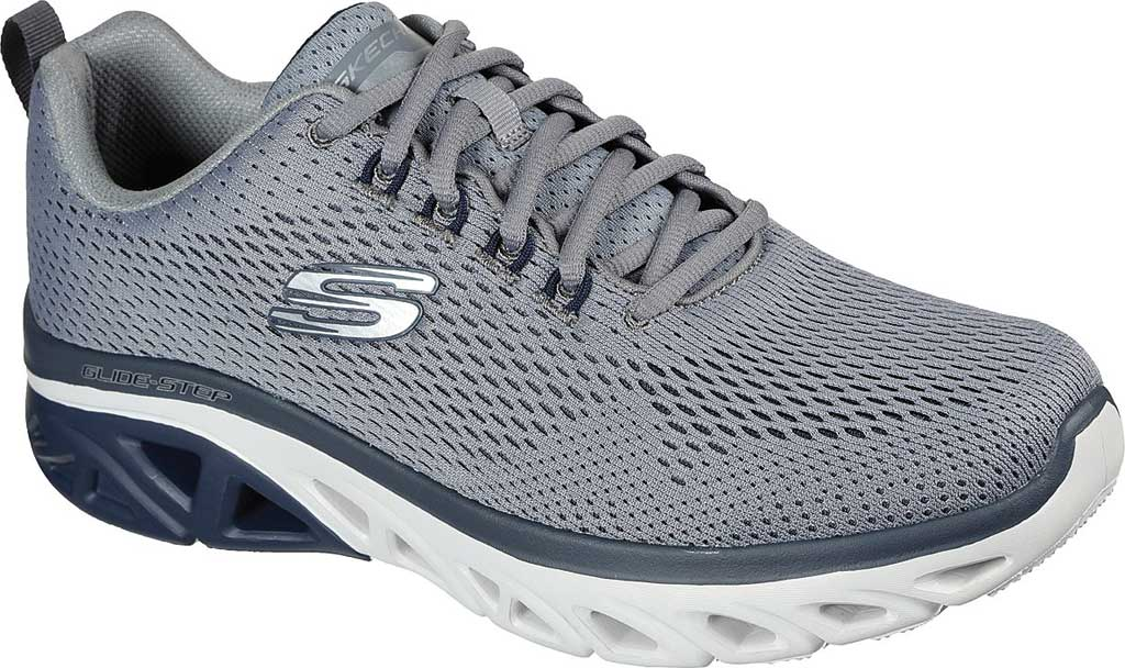 Men's Skechers Glide Step Sport Wave Heat Sneaker, Gray/Navy, large, image 1