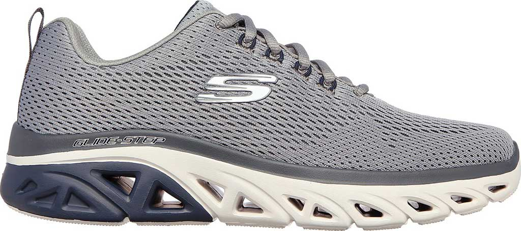Men's Skechers Glide Step Sport Wave Heat Sneaker, Gray/Navy, large, image 2