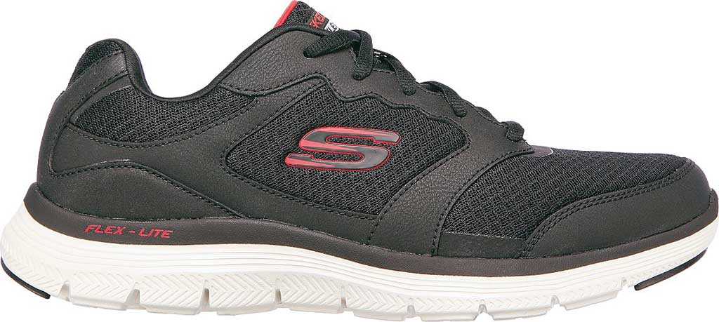 Men's Skechers Flex Advantage 4.0 Trainer, Black/Red, large, image 2
