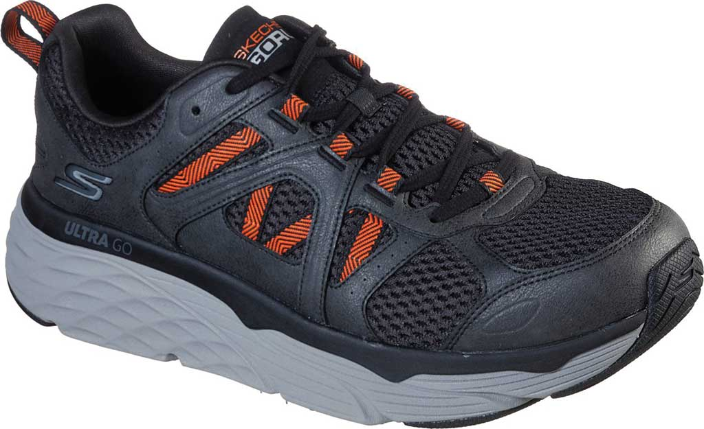 Men's Skechers Max Cushioning Elite Routine Running Sneaker, Charcoal/Orange, large, image 1