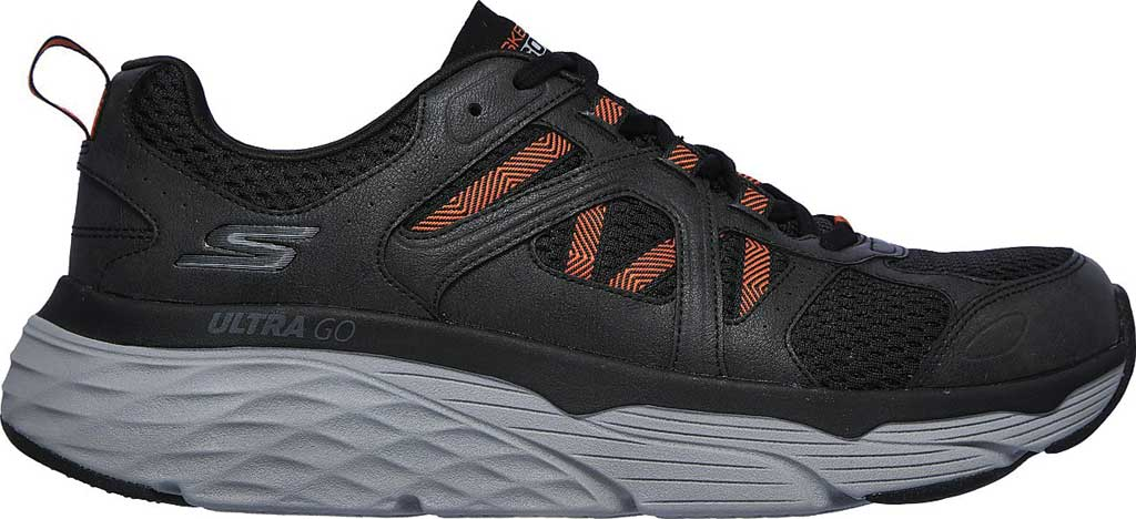 Men's Skechers Max Cushioning Elite Routine Running Sneaker, Charcoal/Orange, large, image 2