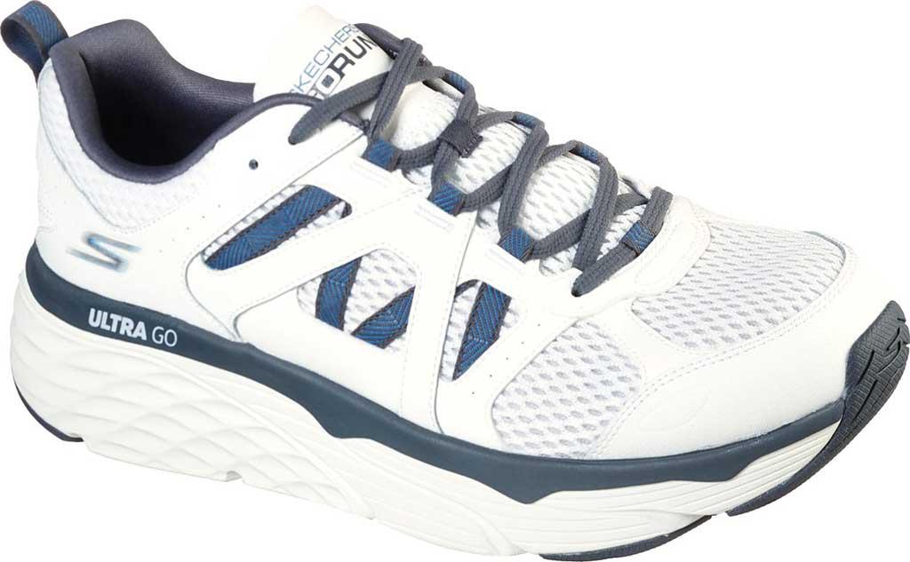 Men's Skechers Max Cushioning Elite Routine Running Sneaker, White/Gray/Blue, large, image 1