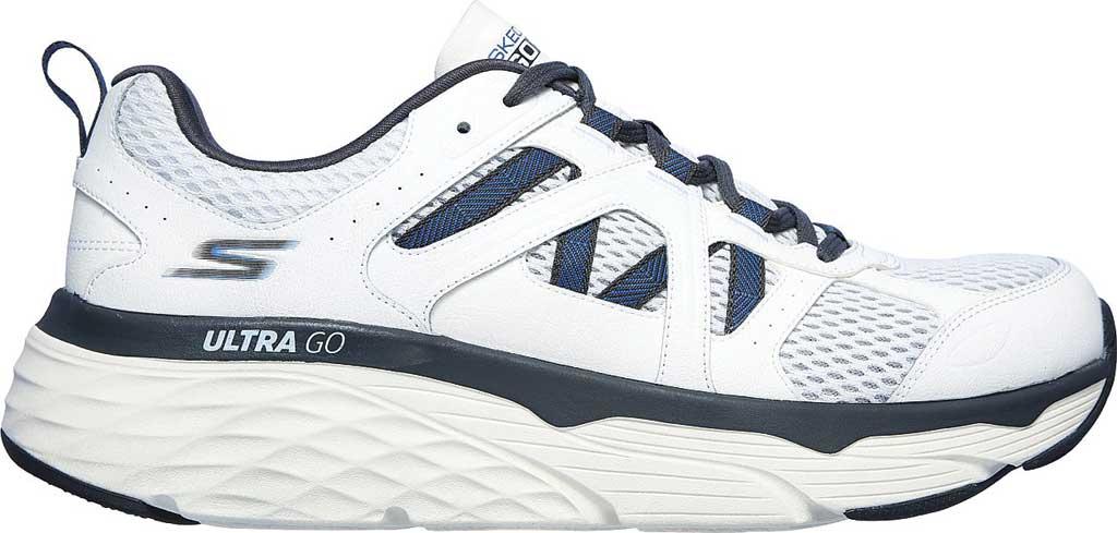 Men's Skechers Max Cushioning Elite Routine Running Sneaker, White/Gray/Blue, large, image 2