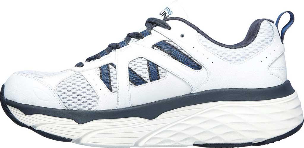 Men's Skechers Max Cushioning Elite Routine Running Sneaker, White/Gray/Blue, large, image 3
