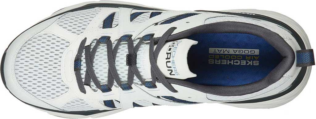 Men's Skechers Max Cushioning Elite Routine Running Sneaker, White/Gray/Blue, large, image 4