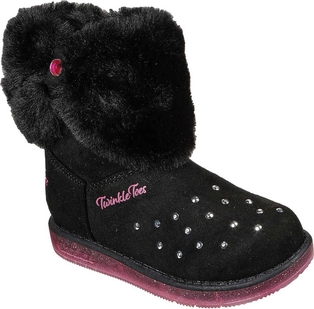 Infant Girls' Skechers Twinkle Toes Glitzy Glam Cozy Cuddlers Bootie, Black, large, image 1