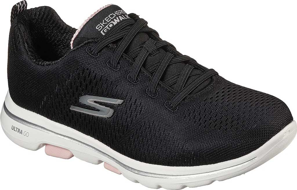 Women's Skechers GOwalk 5 Lake Views Sneaker, Black/Light Pink, large, image 1
