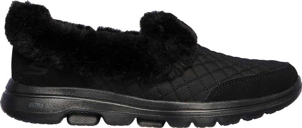 Women's Skechers GOwalk 5 Coziness Sneaker, Black/Black, large, image 2