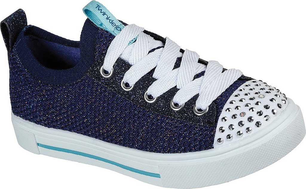 Girls' Skechers Twinkle Toes Twinkle Sparks Knit Shines Sneaker, Navy/Multi, large, image 1