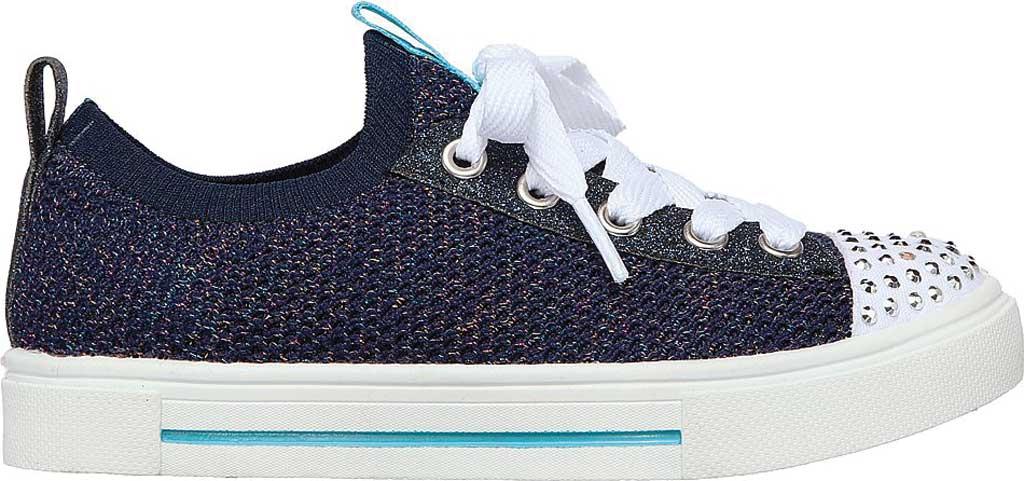 Girls' Skechers Twinkle Toes Twinkle Sparks Knit Shines Sneaker, Navy/Multi, large, image 2