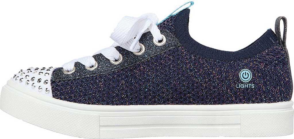 Girls' Skechers Twinkle Toes Twinkle Sparks Knit Shines Sneaker, Navy/Multi, large, image 3