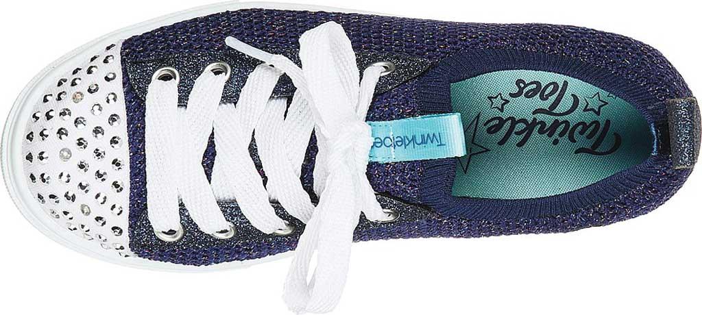 Girls' Skechers Twinkle Toes Twinkle Sparks Knit Shines Sneaker, Navy/Multi, large, image 4