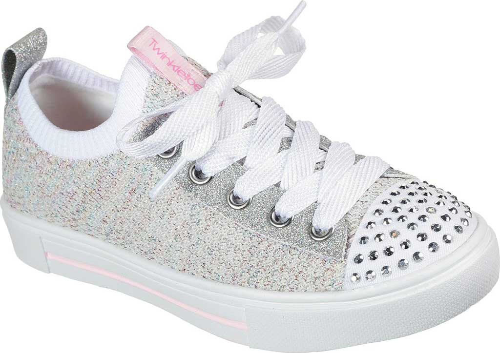 Girls' Skechers Twinkle Toes Twinkle Sparks Knit Shines Sneaker, White/Multi, large, image 1
