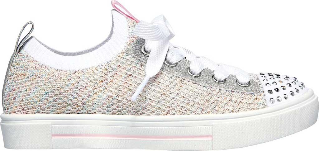 Girls' Skechers Twinkle Toes Twinkle Sparks Knit Shines Sneaker, White/Multi, large, image 2