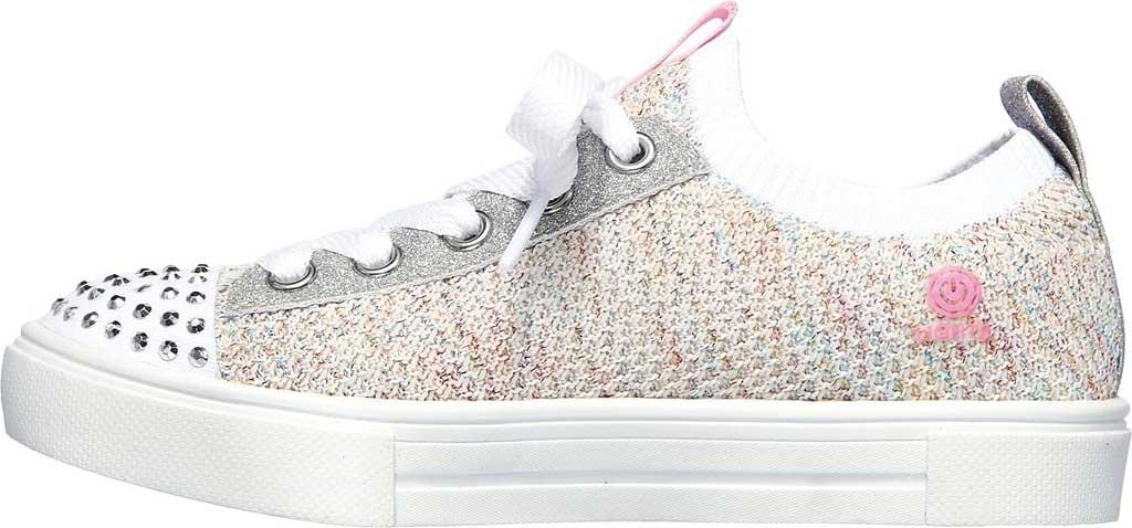 Girls' Skechers Twinkle Toes Twinkle Sparks Knit Shines Sneaker, White/Multi, large, image 3