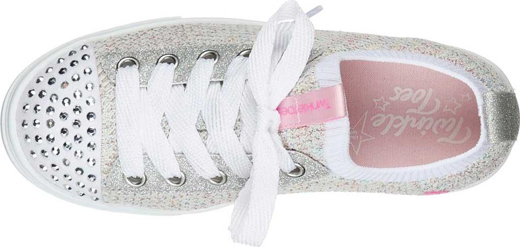 Girls' Skechers Twinkle Toes Twinkle Sparks Knit Shines Sneaker, White/Multi, large, image 4