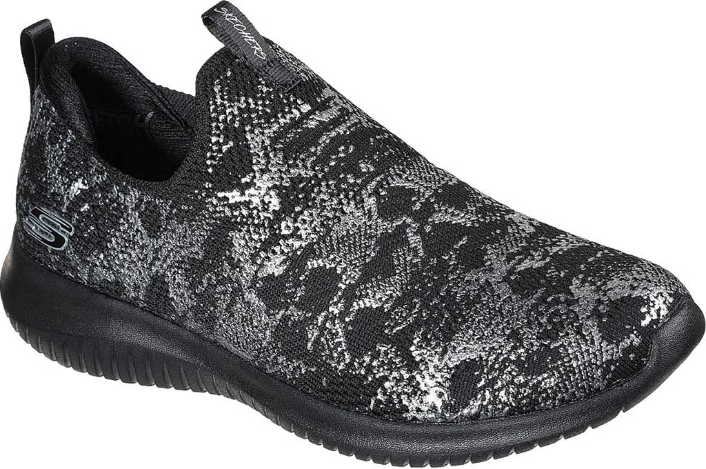 Women's Skechers Ultra Flex Shining Virtues Trainer, Black/Silver, large, image 1