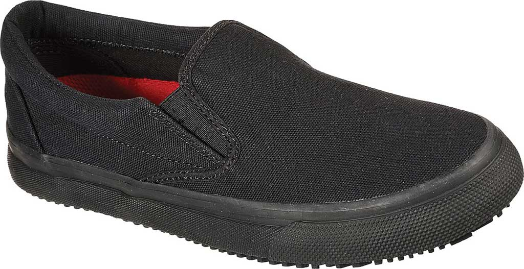 Women's Skechers Work Delvee Slip Resistant Slip On Sneaker, Black/Black, large, image 1