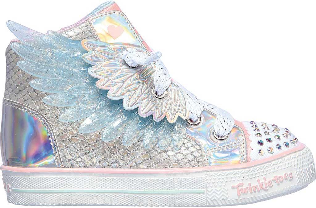 Infant Girls' Skechers TwinkleToes Shuffle Lite Lil Unicorn Wings Sneaker, Silver/Pink, large, image 2