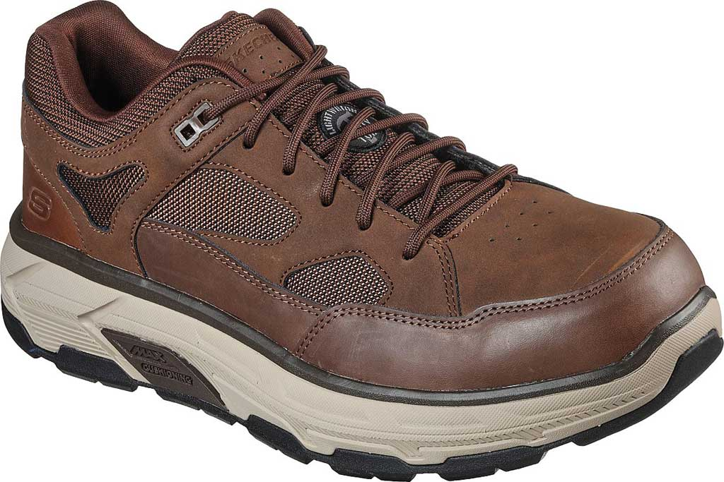 Men's Skechers Work Relaxed Fit Max Stout Alloy Toe Sneaker, Brown, large, image 1