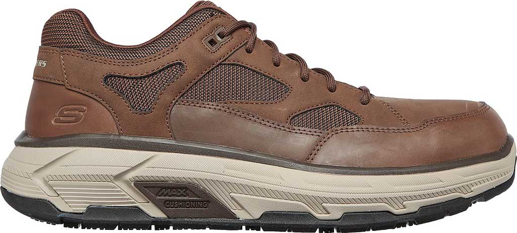 Men's Skechers Work Relaxed Fit Max Stout Alloy Toe Sneaker, Brown, large, image 2