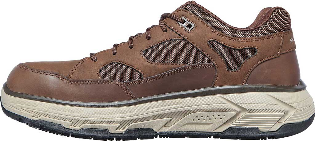 Men's Skechers Work Relaxed Fit Max Stout Alloy Toe Sneaker, Brown, large, image 3