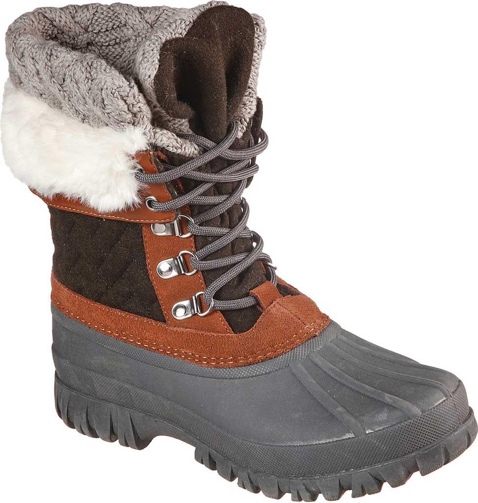 Women's Skechers Windom Pretty Waterproof Duck Boot, Olive/Gray, large, image 1
