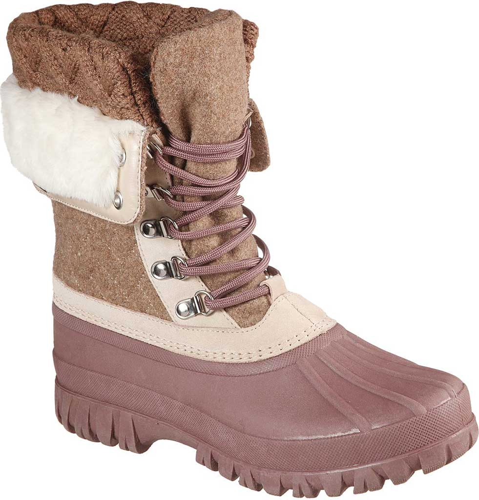 Women's Skechers Windom Pretty Waterproof Duck Boot, Natural/Purple, large, image 1