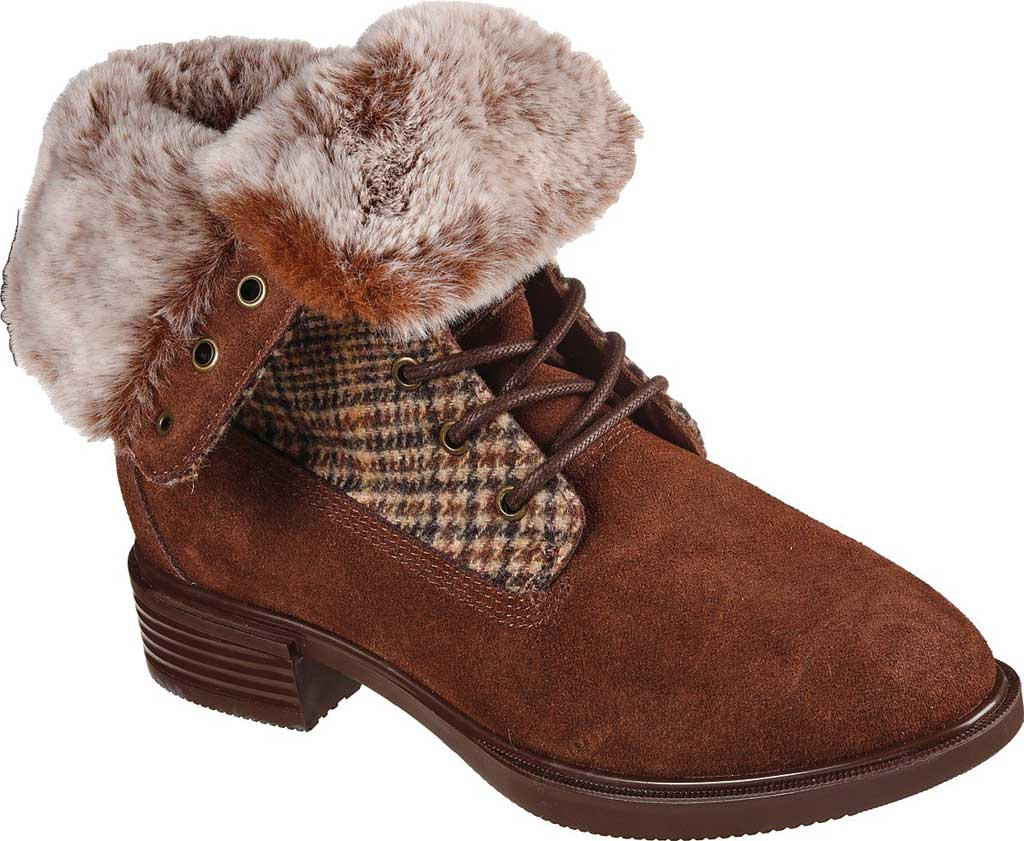 Women's Skechers Tenley Plaid Out Ankle Bootie, Brown, large, image 1