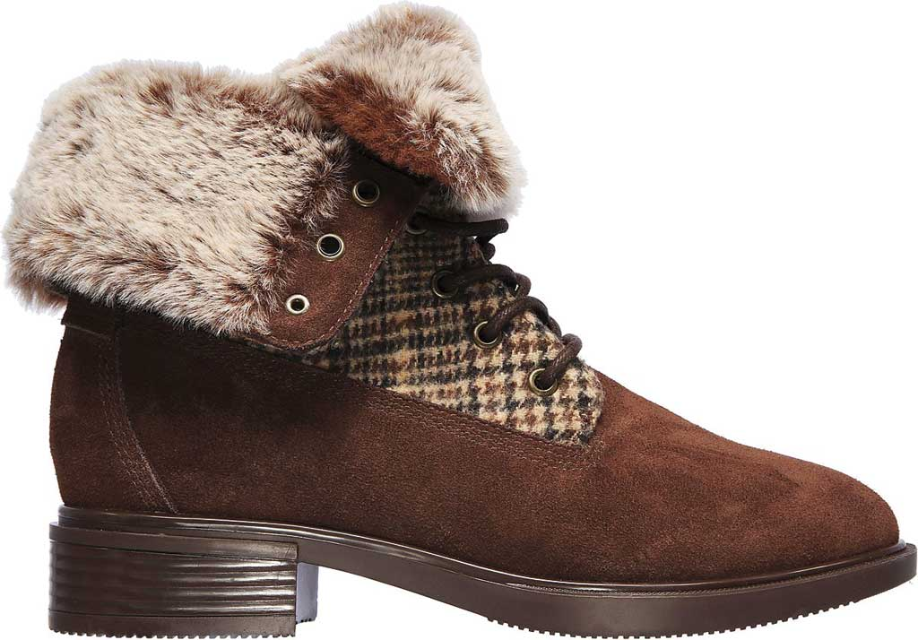 Women's Skechers Tenley Plaid Out Ankle Bootie, Brown, large, image 2