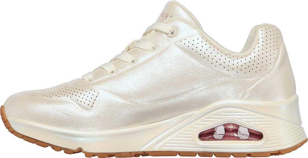 Women's Skechers Uno Pearl Queen Sneaker, White, large, image 3
