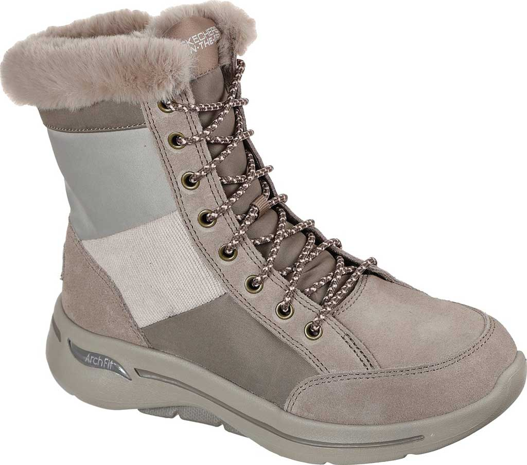 Women's Skechers GOwalk Arch Fit Conquer Bootie, Dark Taupe, large, image 1