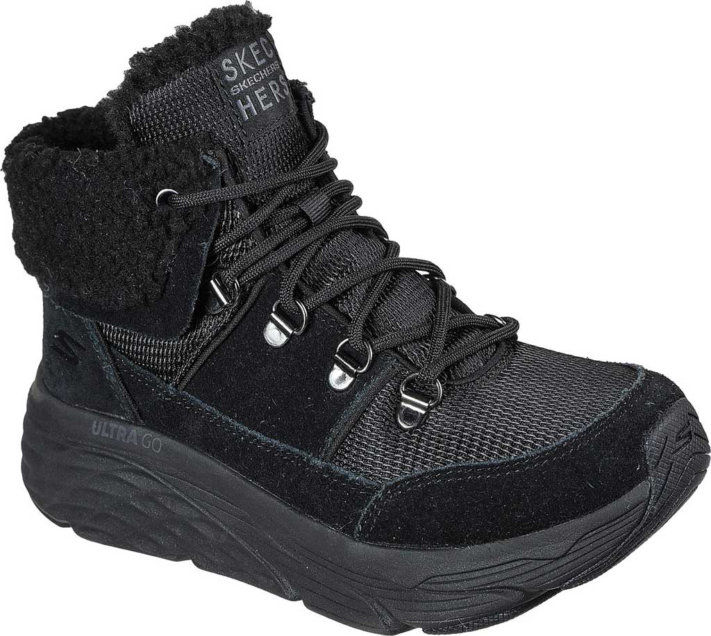 Women's Skechers Max Cushioning Pinnacle Hiking Boot, Black/Black, large, image 1