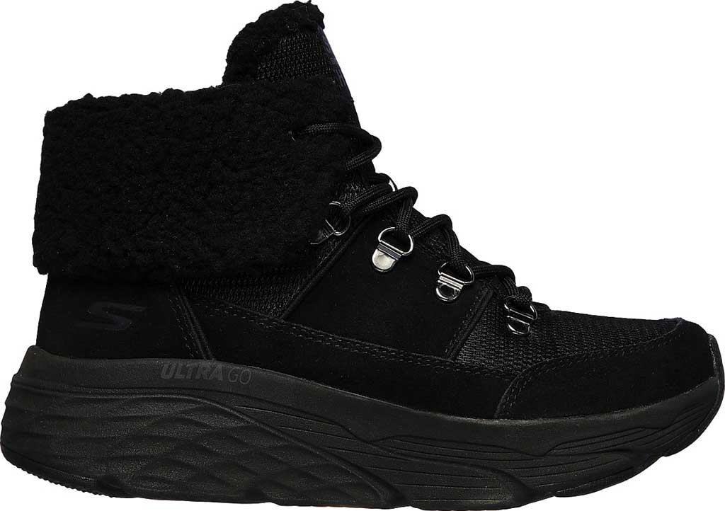 Women's Skechers Max Cushioning Pinnacle Hiking Boot, Black/Black, large, image 2