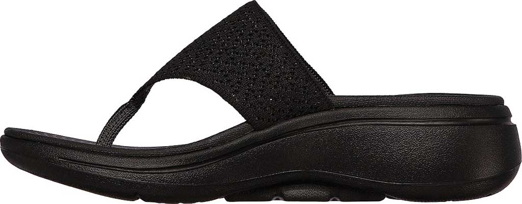 Women's Skechers Go Walk Arch Fit Weekender Thong Sandal, Black/Black, large, image 3