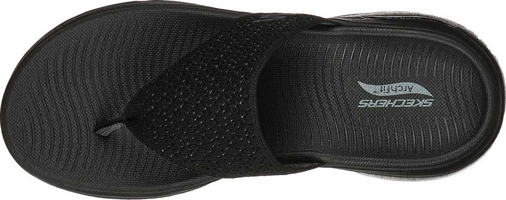Women's Skechers Go Walk Arch Fit Weekender Thong Sandal, Black/Black, large, image 4