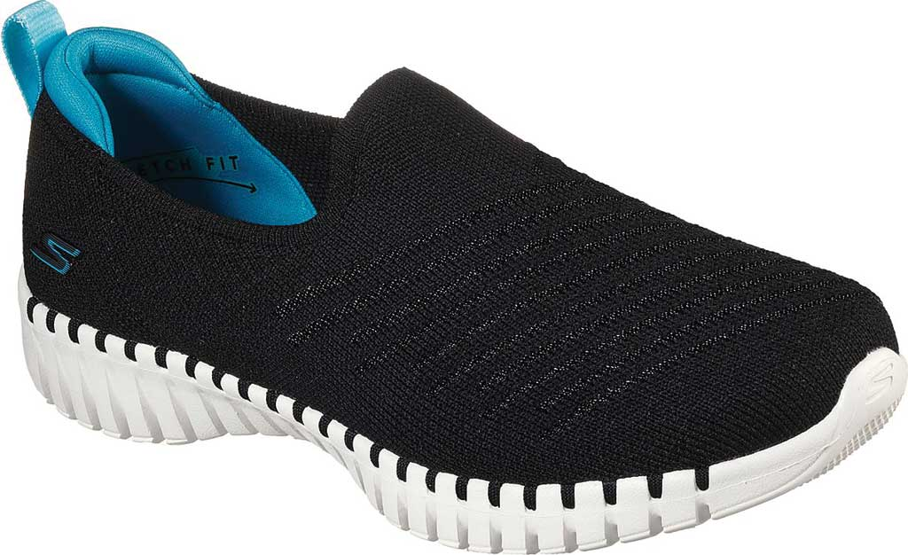Women's Skechers GOwalk Smart Sunday Brunch Vegan Slip On Sneaker, Black/Turquoise, large, image 1