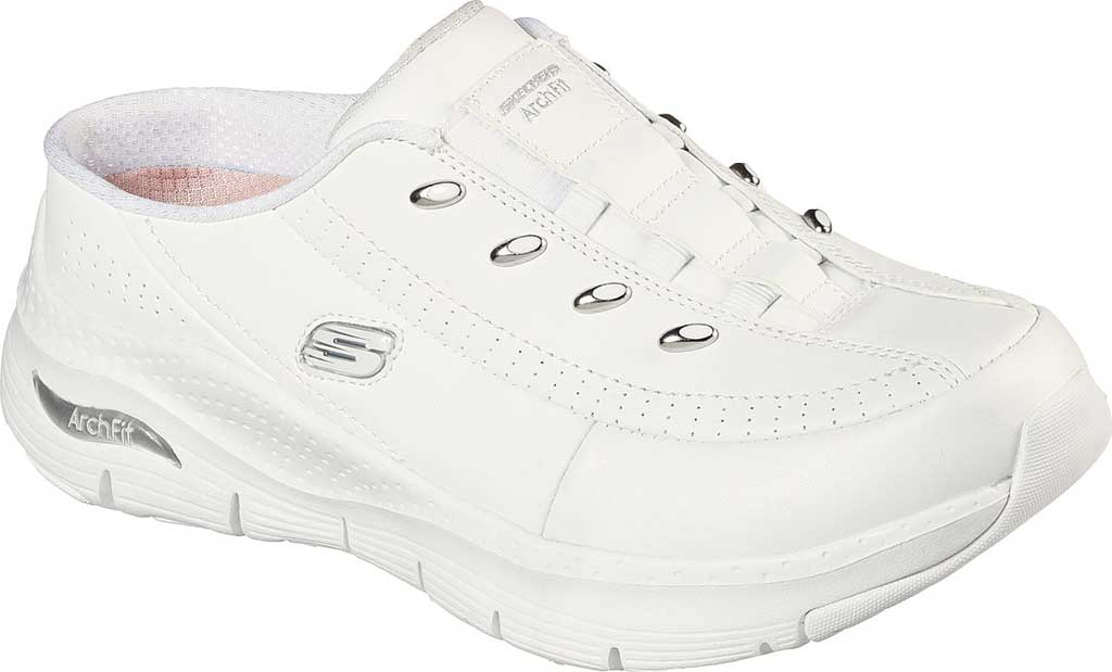 Women's Skechers Arch Fit Blessful Me Backless Sneaker, White/Silver, large, image 1