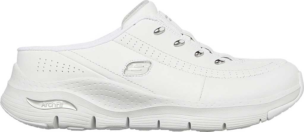 Women's Skechers Arch Fit Blessful Me Backless Sneaker, White/Silver, large, image 2