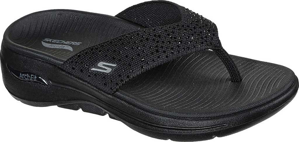 Women's Skechers GOwalk Arch Fit Dazzle Flip Flop, Black/Black, large, image 1