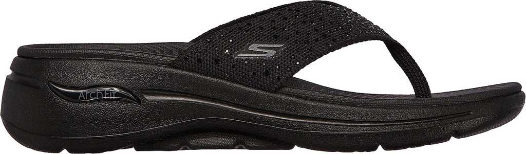 Women's Skechers GOwalk Arch Fit Dazzle Flip Flop, Black/Black, large, image 2