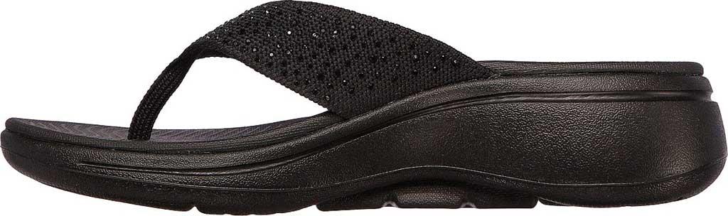 Women's Skechers GOwalk Arch Fit Dazzle Flip Flop, Black/Black, large, image 3